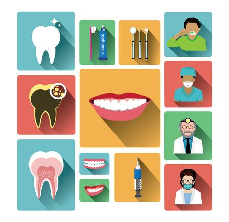 dentista: Iconos dentales planas modernas establecidas con efecto de sombra larga Vectores