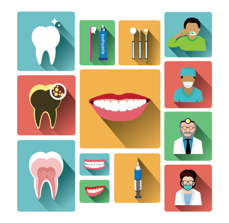 dentist icon: Modern flat dental icons set with long shadow effect Illustration