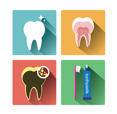 shadow effect: Modern flat tooth icons set with long shadow effect