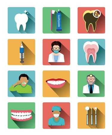 sillon dental: Iconos dentales planas modernas establecidas con efecto de sombra larga Vectores