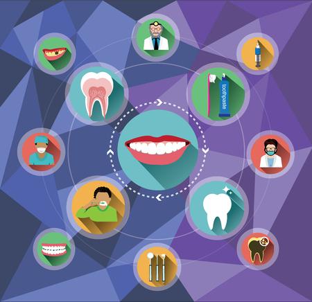dental braces: Iconos dentales planos modernos con fondo de pol�gono