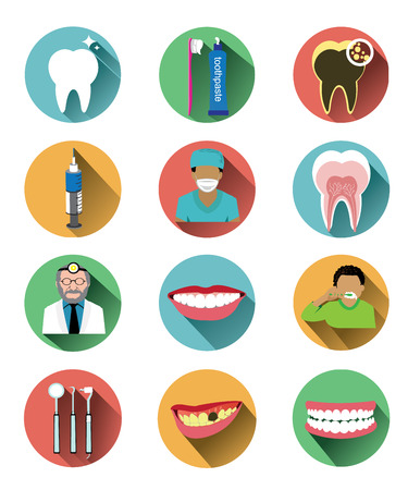 shadow effect: Modern flat dental icons set with long shadow effect Illustration