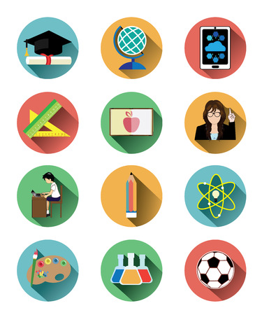 shadow effect: Modern flat education icons set with long shadow effect