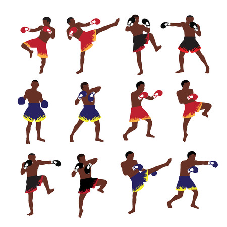 Thai boxing action set