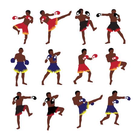 thai boxing: Thai boxing action set