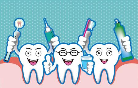 caries dental: Ilustración de dibujos animados sonriente del diente