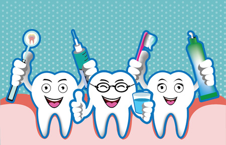 Illustration of cartoon smiling tooth Illustration