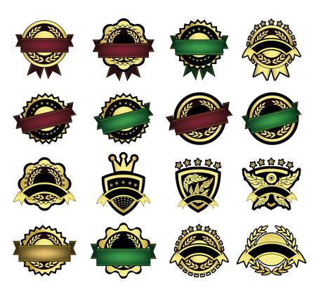 logos de empresas: Conjunto de plantilla de la etiqueta de oro