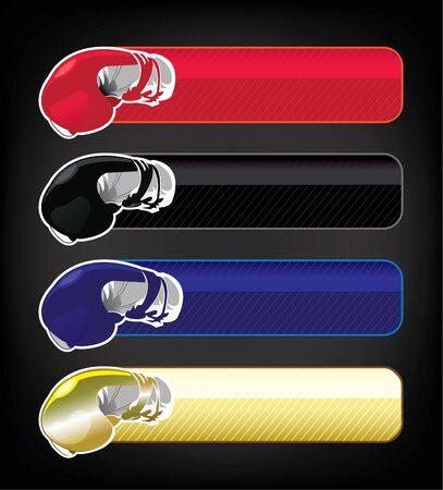 Boxing gloves banner set