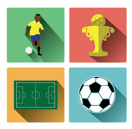 sports team: Modern flat soccer icons set with long shadow effect
