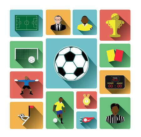 shadow effect: Modern flat soccer icons set with long shadow effect