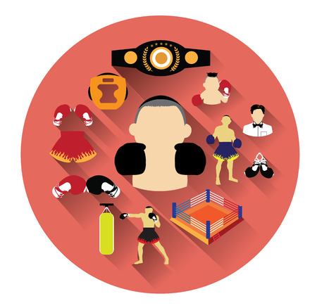 Modern flat boxing icons set with long shadow effect