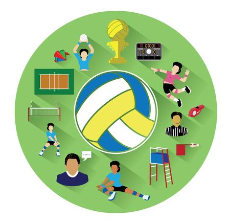 pelota de voleibol: Modernos iconos de voleibol planos establecidos con efecto de sombra larga