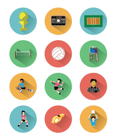 shadow effect: Modern flat volleyball icons set with long shadow effect