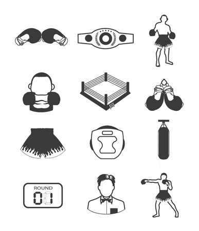 Boxing icons collection Illustration