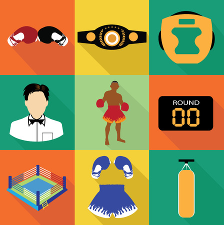 Boxing icons set Illustration