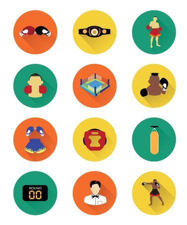 Boxing icons set Illustration
