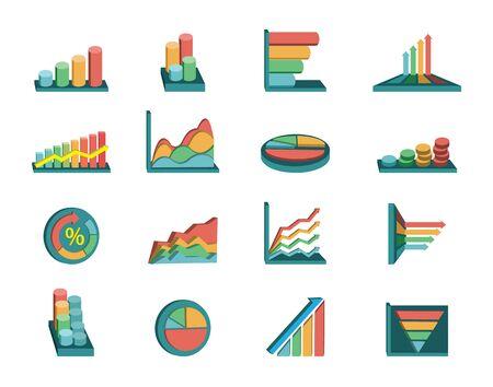 economic forecast: Business graphs set Illustration