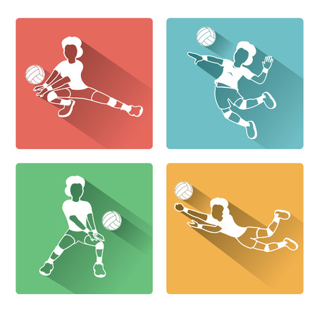volleyball serve: Modern flat Volleyball woman player icons set with long shadow effect Illustration