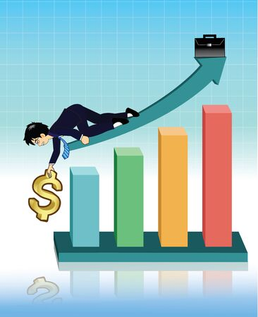 stock broker: Businessman giving hand to help dollar up to on graph Illustration