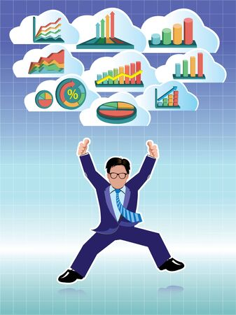 businessman jumping: Businessman jumping with business graphs cloud set