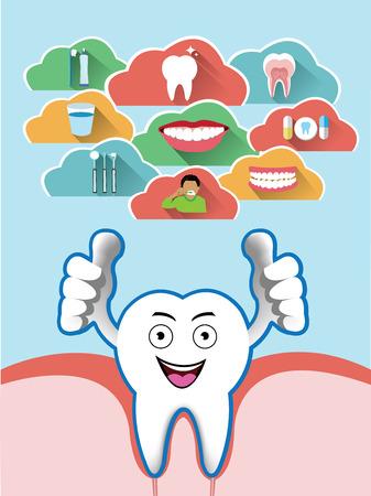 dientes: Diente de la sonrisa de la historieta con el conjunto de la nube dental Vectores
