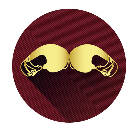Golden boxing gloves icon with long shadow effect
