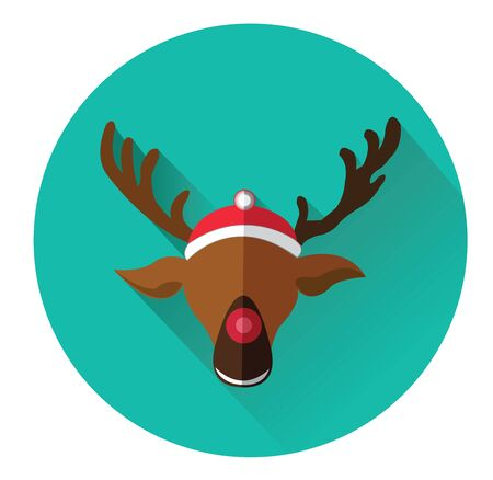 red nosed: Modern flat icon of red nosed reindeer