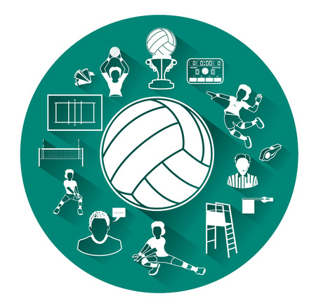 volleyball: Modern flat volleyball icons set with long shadow effect