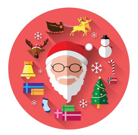 red nosed: Modern flat icons of Santa claus and Christmas Day
