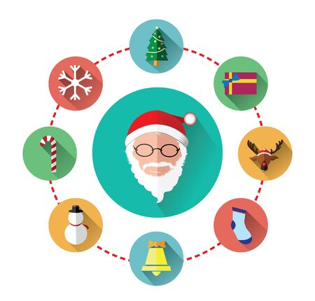 nosed: Modern flat icons of Santa claus and Christmas Day