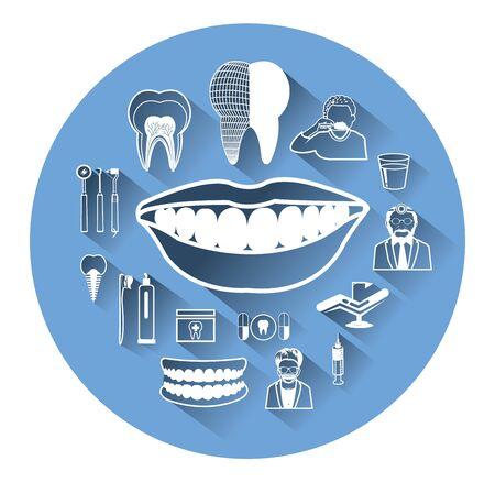 cavity braces: Modern flat dental icons set with long shadow effect Illustration