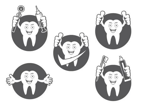 sillon dental: Cartoon Smiling tooth icons set