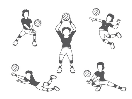volleyball serve: Volleyball woman player set