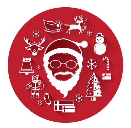 abstract christmas: Modern flat icons of Santa claus and Christmas Day