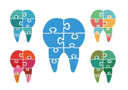 jigsaw set: Modern jigsaw dental icons set