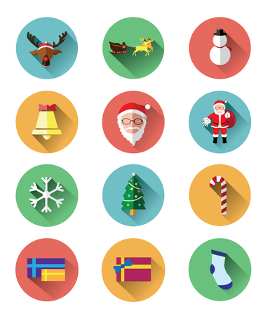 nosed: Modern flat icons set of Santa claus and Christmas Day Illustration