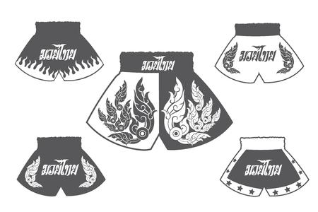 short gloves: Thai boxing shorts set Illustration
