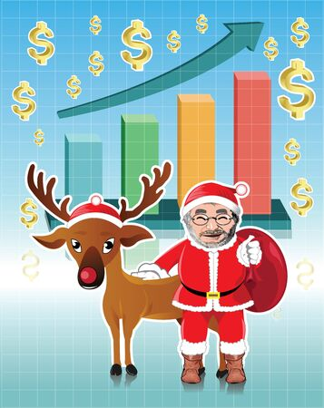 red nosed: Santa claus and red nosed reindeer with business graph Illustration