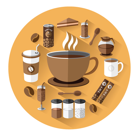 canned drink: Modern flat icons set of coffee