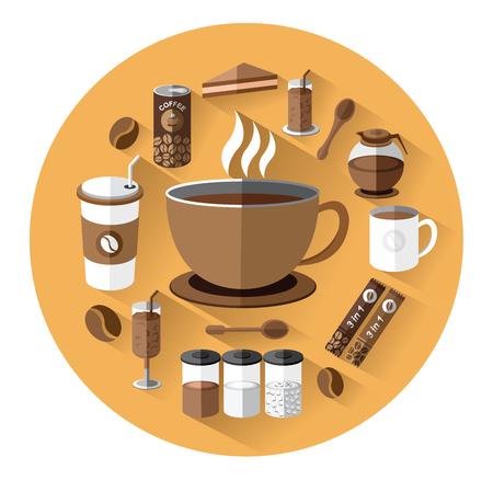 creamer: Modern flat icons set of coffee