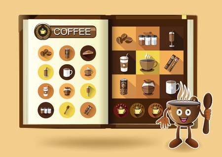 notebook page: Coffee set on notebook page vector illustration