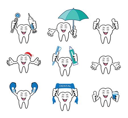umbella: Cartoon Smiling tooth set