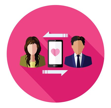 connecting: connecting couple of lover flat icon