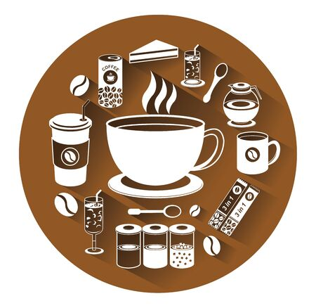 creamer: Modern flat icons set of coffee