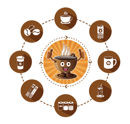 creamer: Cartoon Smiling coffee and modern flat coffee icons set with long shadow effect Illustration