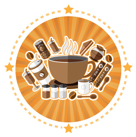 canned drink: Illustration of coffee icons set Illustration