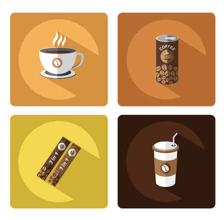 canned drink: Modern flat Coffee icons set with long shadow effect