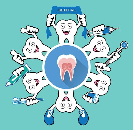 umbella: Cartoon Smiling tooth with tooth icon