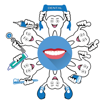 umbella: Cartoon Smiling tooth with smile icon